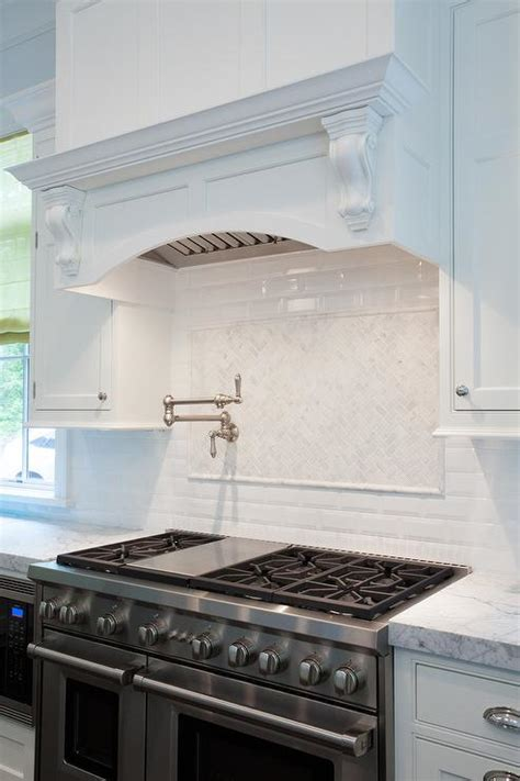 Kitchen Range Backsplash White Herringbone Stove Tiles Transitional Kitchen
