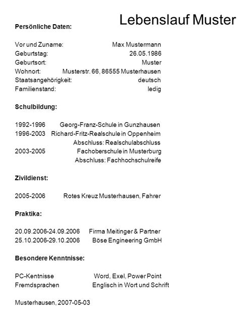 Lebenslauf Muster Mann resume format and sle find easy with