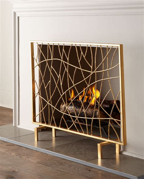 Golden Branch Fireplace Screen by Golden Branch Fireplace Screen Log Holder