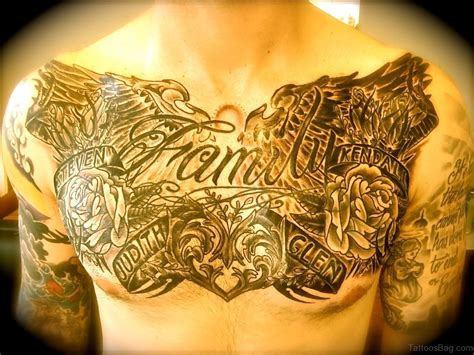 family chest tattoo 27 family wording tattoos on chest