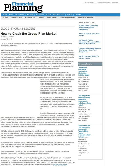 sle business plan financial advisor how to crack the group retirement plan market