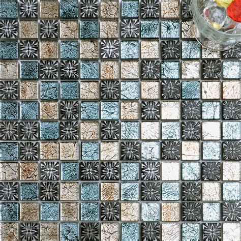 glass mosaic tiles with flowers mediterranean mosaic tiles other metro by dintin