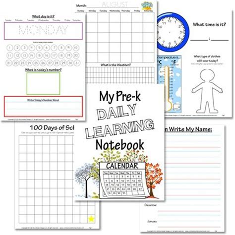printable calendar kindergarten preschool daily learning notebook free printable to from