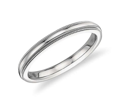 milgrain comfort fit wedding ring in platinum 2 5mm