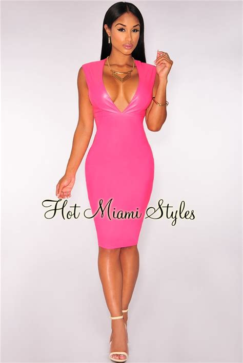 V Neck Dress Pink pink faux leather v neck dress