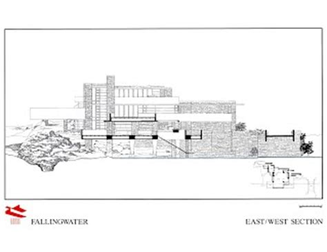 falling water section plans elevations sections fallingwater