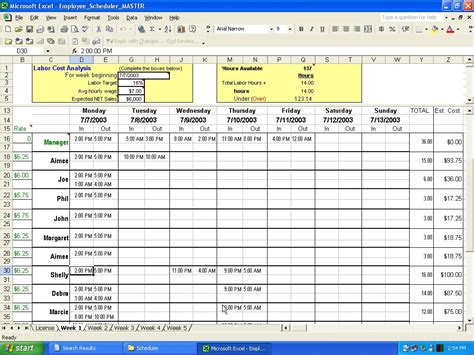 Excel employee scheduler