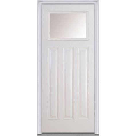 3 Panel Exterior Door Masonite 36 In X 80 In Craftsman 6 Lite Primed Smooth Fiberglass Prehung Front Door With
