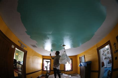 Alive In Paint Ceilings by Restoration Attack Painting The Living Room Ceiling