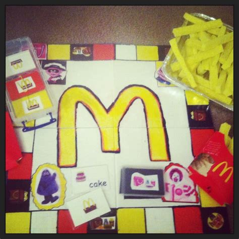 homemade games homemade mcdonald s game board cut up sponges as french fries painted blank board with acrylic