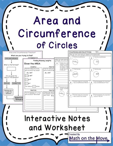 circumference and area of circles interactive notes