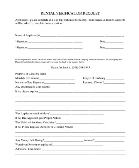 Rental Letter Verification Sle Sle Rental Verification Form 10 Exles In Pdf Word