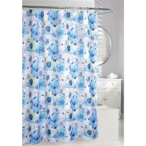Blue And White Floral Curtains Floral Bouquet 71 In Blue And White Fabric Shower Curtain 205084 The Home Depot