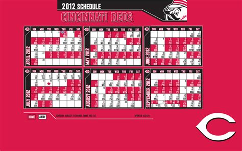 Reds Printable Schedule