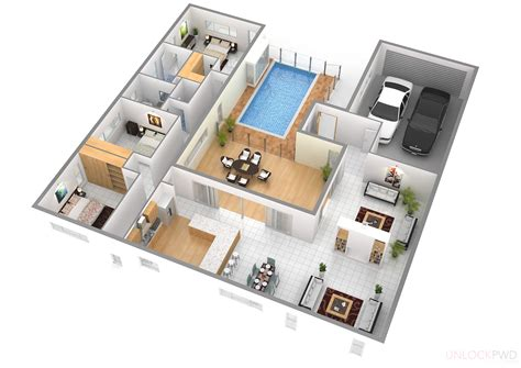 cool 3d rectangular house floor plan come with modern