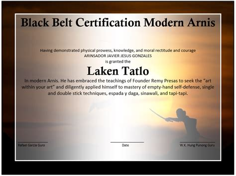 martial arts certificates templates martial arts event winner certificate template free