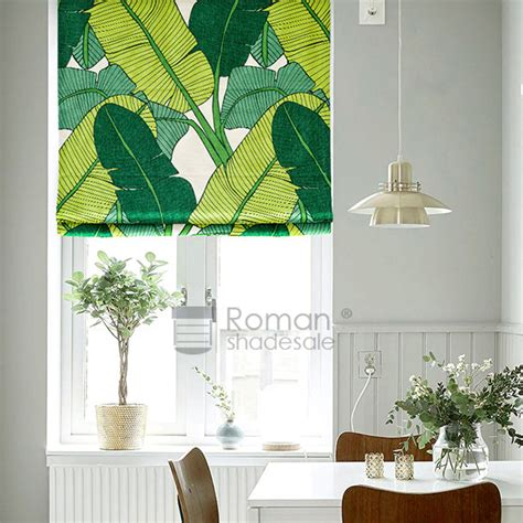 leaf patterned roman blinds creative banana leaf pattern print linen cotton roman blinds