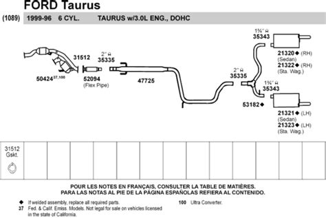 2001 ford taurus exhaust system diagram 2000 2007 taurus exhaust taurus car club of america