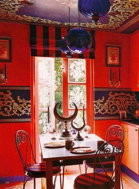 bright moroccan dining room decoration with wall paint