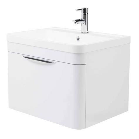 curved bathroom vanity unit high gloss white curved 600mm 1 draw wall mounted vanity unit
