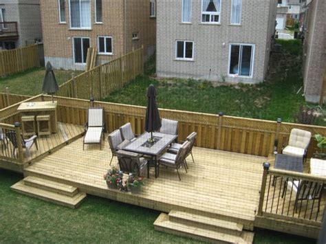 flat decks and small back yard patio designs with deck