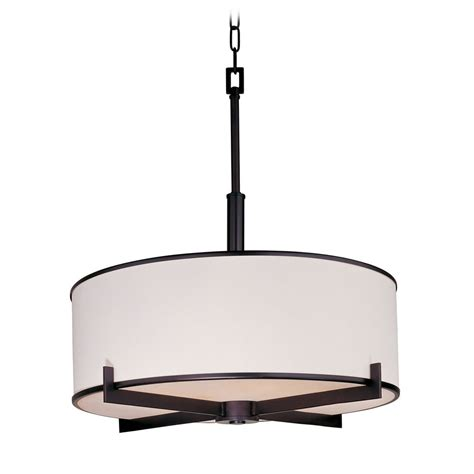 Drum Shade Pendant Light Modern Drum Pendant Light With White Shade In Rubbed Bronze Finish 12053wtoi Destination