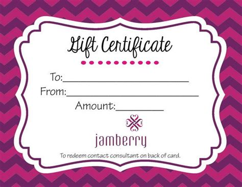 jamberry sle card template jamberry nails gift certificate in chevron instant