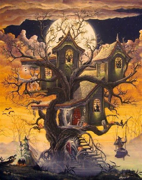 swing house artists folk art halloween witches haunted tree house print witch