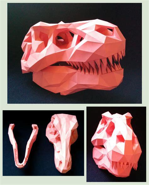 Dinosaur Papercraft Templates - t rex skull papercraft by gedelgo on deviantart
