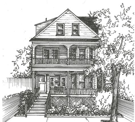 home drawing commission an original ink house drawing architectural