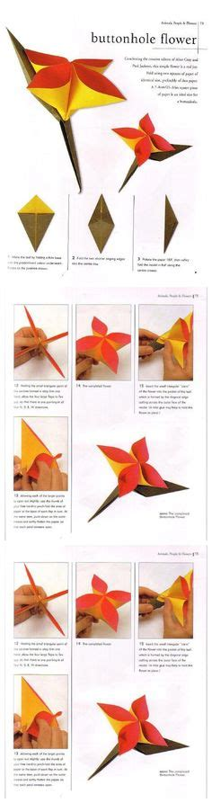 Buttonhole Flower Origami - origami for on 80 pins