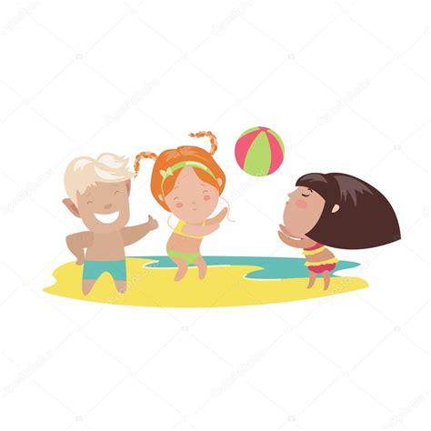 imagenes de niños jugando volibol ni 241 os jugando voleibol de playa vector de stock