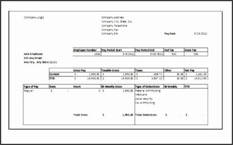 10 Payroll Check Stub Template Free Sletemplatess Sletemplatess Check Stub Template For 1099 Employee
