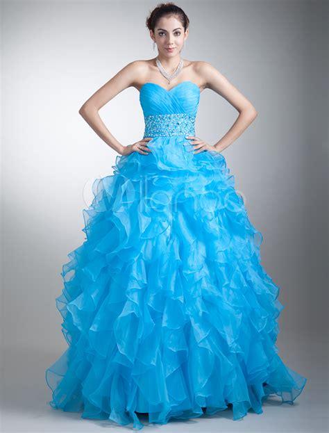 light blue ruffle dress organza prom dress cyan sweetheart ball gown quinceanera