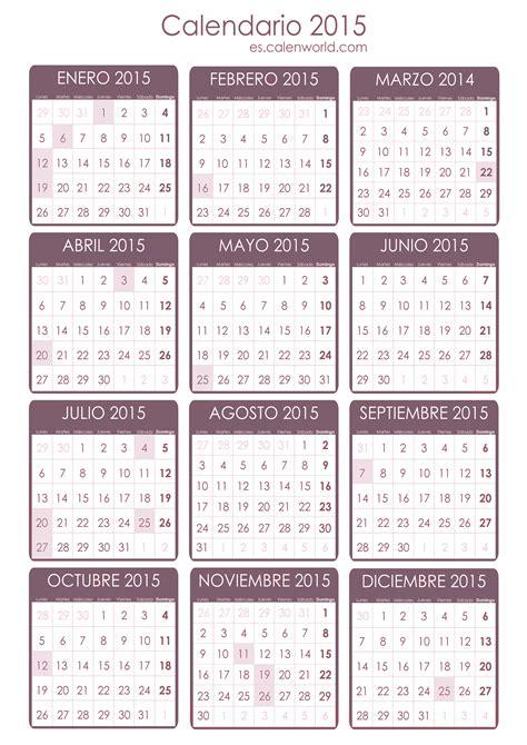 Calendario R 2015 Feriados 2015 D 237 As No Laborales 2015