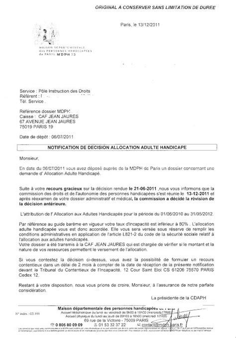 modele lettre de contestation decision mdph - Modele de