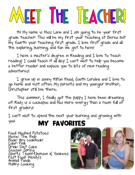 meet the teacher bio such a cute idea kindergarten