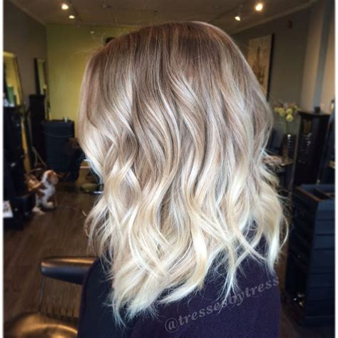 platinum blonde ombre hair platinum blonde balayage ombre textured lob haircut