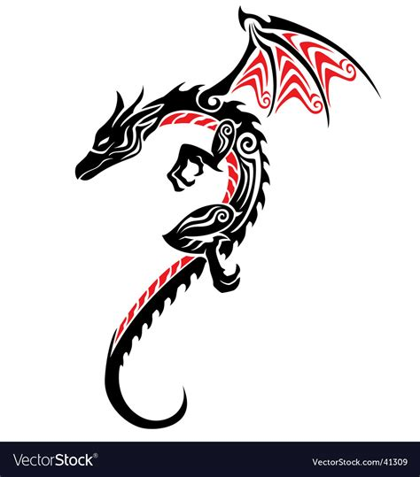 chinese dragon tattoo stock vector asian black stencil vector by kristina0702 image