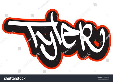 name style design tyler graffiti font style name hiphop stock vector