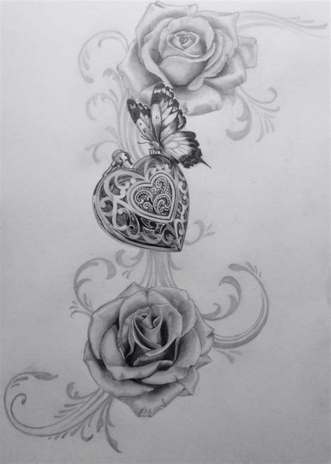 rose butterfly tattoos amulett draw drawing roses butterfly sleeve tattoos