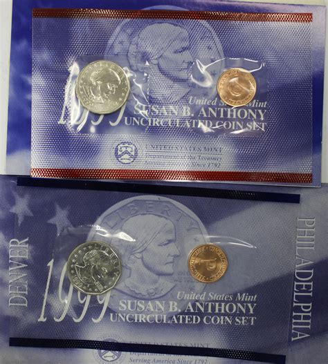 susan b anthony dollars 1979 1981 1999 mintage coin 1999 susan b anthony dollar souvenir set value coinhelp