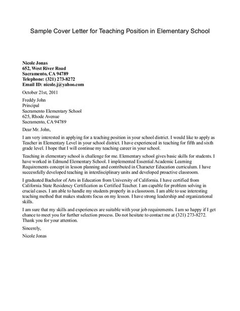 Cover Letter Exles Elementary Best 25 Cover Letter Ideas On