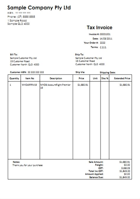 myob invoice template invoice exle