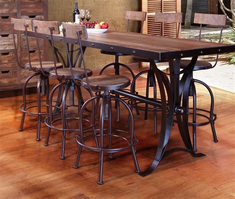 Cedar Dining Room Table Antique Multicolor Counter Height Dining Table With Iron Base