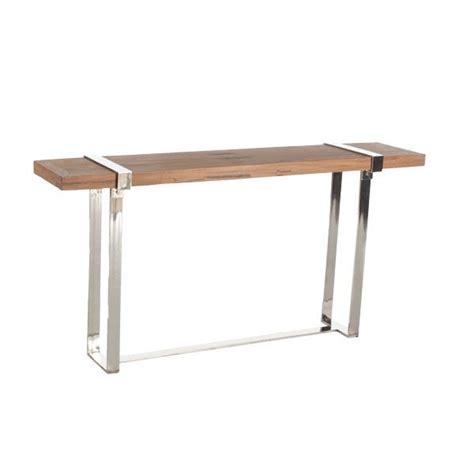 natural wood sofa table natural wood and chrome console table for the home ideas