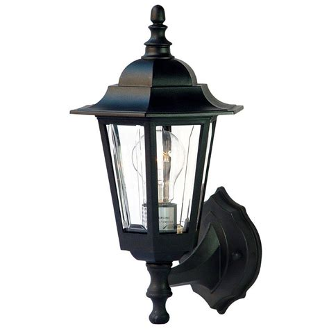home depot exterior light fixtures acclaim lighting tidewater collection 1 light matte black outdoor wall mount light fixture 31bk