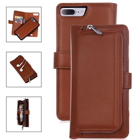 Autofocus Leather Iphone 8 hybrid rugged leather zipper card wallet cover for apple iphone 8 8 plus ebay