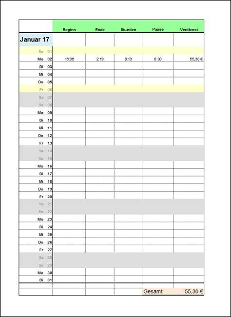 Tabellenvorlage Word Excel Arbeitszeitnachweis Vorlagen 2017