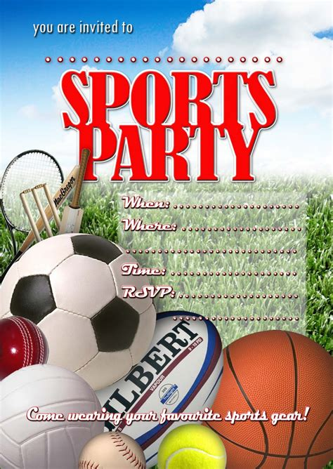 sports themed birthday ecards sports party invitation card design ideas for children